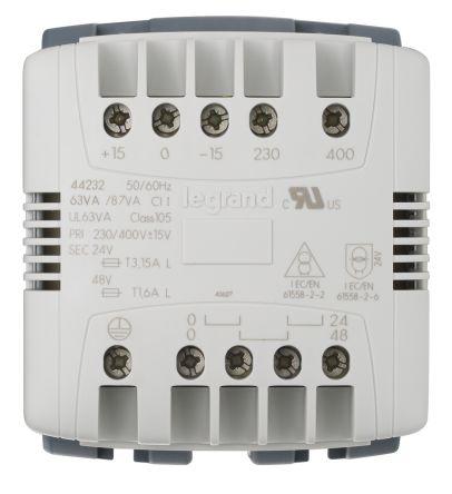 Legrand 63VA DIN Rail Transformer, 230V ac, 400V ac Primary, 24V ac Secondary