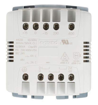 Legrand 100VA DIN Rail Transformer, 230V ac, 400V ac Primary, 24V ac  Secondary