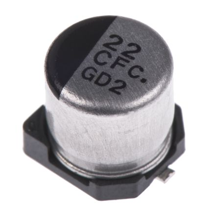 Panasonic 22μF 16V dc Aluminium Electrolytic Capacitor, Surface Mount 5  (Dia ) x 5 4mm +105°C 5mm