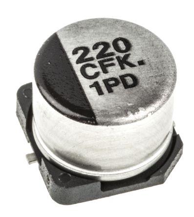 EEEFK1C221P | Panasonic FK, SMD Alu Kondensator, Elko radial 220μF ...