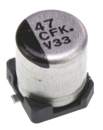 Panasonic 47μF 16V dc Aluminium Electrolytic Capacitor, Surface Mount 5 (Dia.) x 5.8mm +105°C 5mm 1.5mm