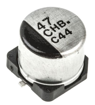 Panasonic 47μF 16V dc Aluminium Electrolytic Capacitor, Surface Mount 6 3  (Dia ) x 5 8mm +105°C 6 3mm