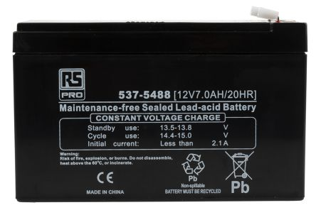 RS Pro RS7-12 12V Lead Acid Battery, 7Ah