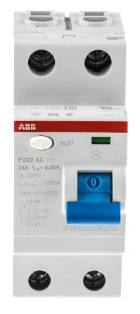 ABB 2 Pole Type AC Residual Current Circuit Breaker, 25A F200, 30mA