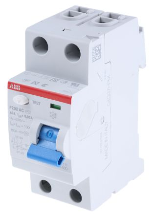 ABB 2 Pole Type AC Residual Current Circuit Breaker, 40A F200, 30mA