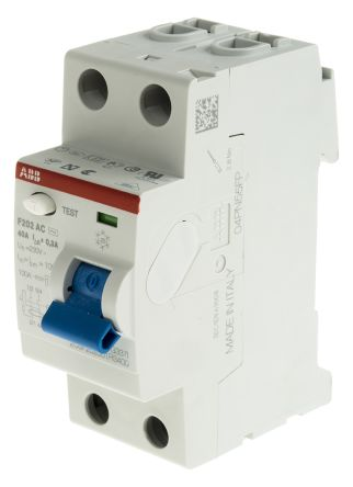 ABB 2 Pole Type AC Residual Current Circuit Breaker, 40A F200, 300mA