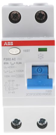 ABB 2 Pole Type AC Residual Current Circuit Breaker, 63A F200, 300mA