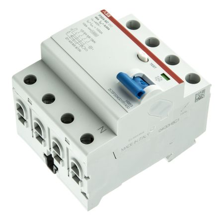 ABB 4 Pole Type AC Residual Current Circuit Breaker, 40A F200, 30mA