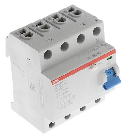 ABB 4 Pole Type AC Residual Current Circuit Breaker, 25A F200, 300mA