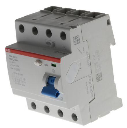 4P 100 A, RCD Switch, Trip Sensitivity 30mA, DIN Rail Mount System M Pro F200