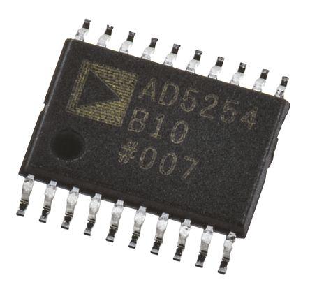 AD5254BRUZ10, Digital Potentiometer 10kΩ 256-Position Linear 4-channel Serial-2 Wire, Serial-I2C 20-Pin TSSOP