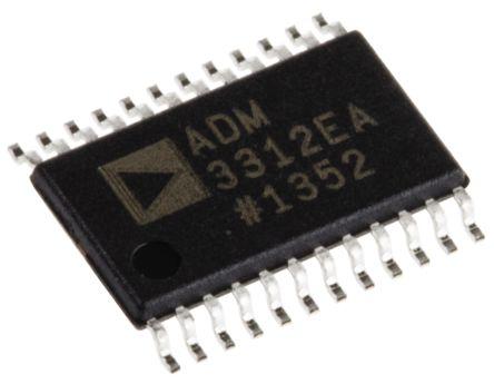 Analog Devices ADM3312EARUZ, Line Transceiver, RS-232 3-TX 3-RX, 3.3 V, 24-Pin TSSOP