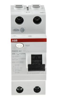 ABB 2 Pole Type AC Residual Current Circuit Breaker, 25A FH200, 30mA