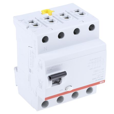 ABB 4 Pole Type AC Residual Current Circuit Breaker, 40A FH200, 30mA