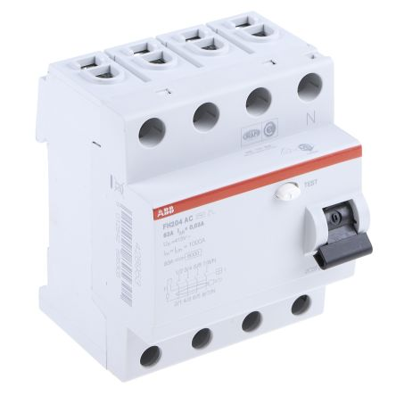 ABB 4 Pole Type AC Residual Current Circuit Breaker, 63A FH200, 30mA