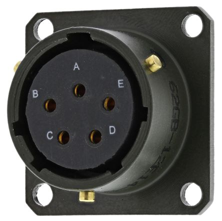 Amphenol 62GB Series, 5 Way Box Mount MIL Spec Circular Connector Receptacle, Socket Contacts,Shell Size 14
