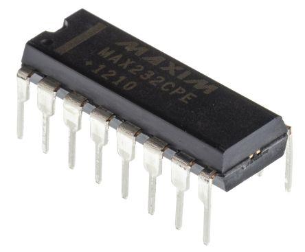Maxim MAX232CPE+, Line Transceiver, EIA/TIA-232-E/ RS-232/ V.24/ V.28 2-TX 2-RX, 5 V, 16-Pin PDIP