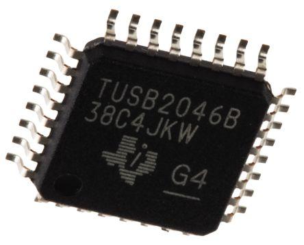 Texas Instruments TUSB2046BVF, USB Transceiver, USB 2.1 5-Port at 12Mbps, 3.3 V, 32-Pin LQFP