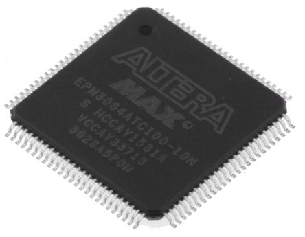 Altera EPM3064ATC100-10N, Complex Programmable Logic Device CPLD MAX 3000A EEPROM 64 Cells, 66 I/O, 4 Labs, ISP, 100-Pin
