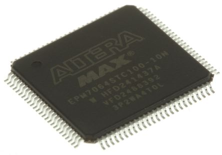Altera EPM7064STC100-10N, Complex Programmable Logic Device CPLD MAX 7000S EEPROM 64 Cells, 68 I/O, 4 Labs, ISP, 100-Pin