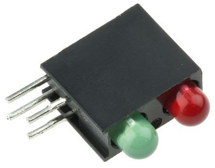 Dialight 553-0112F, Green & Red Right Angle PCB LED Indicator, 2 LEDs, Through Hole 3 V