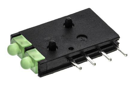 Dialight 571-0122-100F, Green Right Angle PCB LED Indicator, 2 LEDs, Through Hole 2.1 V