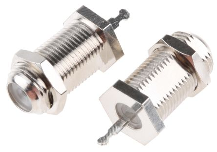 RS PRO Straight 75Ω Panel MountBulkhead Fitting Coaxial Connector, jack, Nickel, Solder Termination
