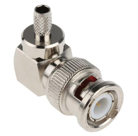 RS Pro Right Angle 50Ω Cable Mount BNC Connector, Plug, Nickel, Crimp  Termination, RG58