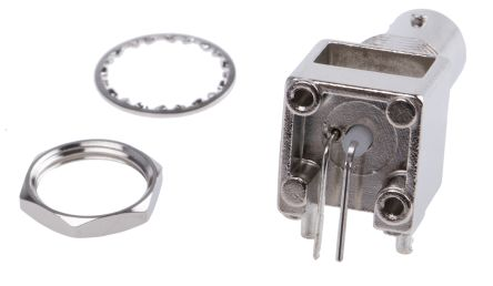 Right Angle 75O PCB Mount Bulkhead Fitting BNC Connector, jack, Nickel, Through Hole Termination product photo