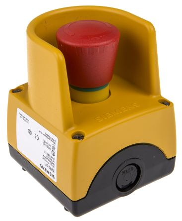 Siemens, Red/Yellow/Black, Twist to Reset 32mm Mushroom Head Emergency Button