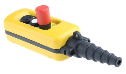 Schneider Electric 2NO/3NC 3 Push Button Pendant Station 3 A ac, 270 mA dc Yellow, 600V, IP65 3 Black, Red, White Down