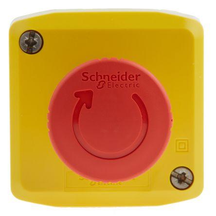 Schneider Electric, Red/Yellow/Grey, Twist to Reset 40mm Mushroom Head Emergency Button