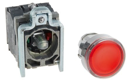 Schneider Electric Harmony XB4 Illuminated Red Push Button NO/NC Spring Return