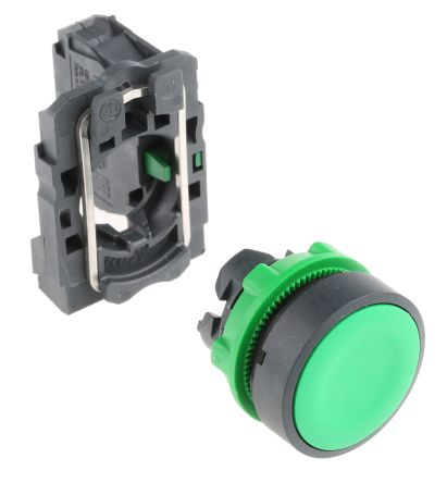 Schneider Electric, Harmony XB5 Non-illuminated Green Round Push Button, NO, 22mm Momentary Screw