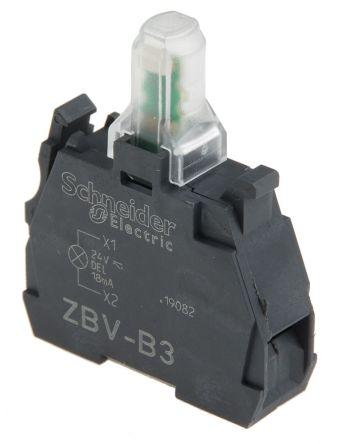 Bloque de luces Schneider Electric ZBVB3, LED, Verde, 24 V, terminal Roscado