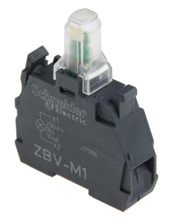 Bloque de luces Schneider Electric ZBVM1, LED, Blanco, 230 V, terminal Roscado