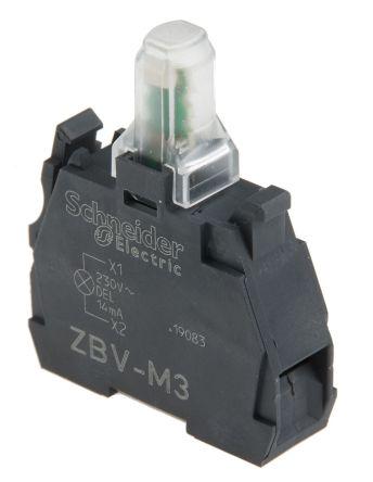 Bloque de luces Schneider Electric ZBVM3, LED, Verde, 230 V, terminal Roscado