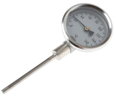 Dial Thermometer, Centigrade Scale, 0 → +160 °C, 60mm dia. Immersion