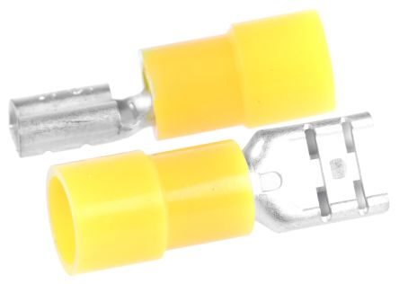 RS PRO FDNI5 Series Yellow Insulated Crimp Receptacle, 6.35 x 0.8mm, 4mm² to 6mm², 12AWG to 10AWG