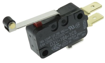 SPDT-NO/NC Roller Lever Microswitch, 16 A @ 250 V ac