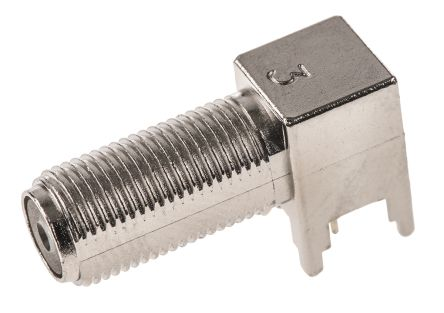 TE Connectivity Right Angle 75Ω Through Hole Coaxial Connector, jack, Nickel, Solder Termination, Coaxial