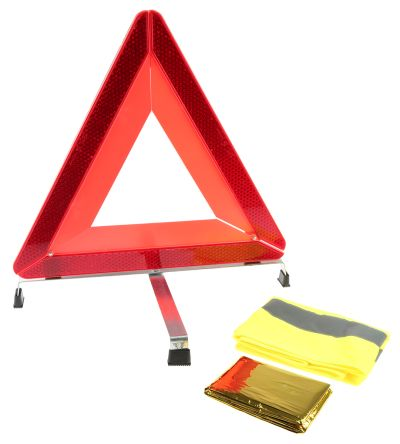 Road Safety Kit Containing Emergency blanket, high visibility jacket, storage bag, warning triangle