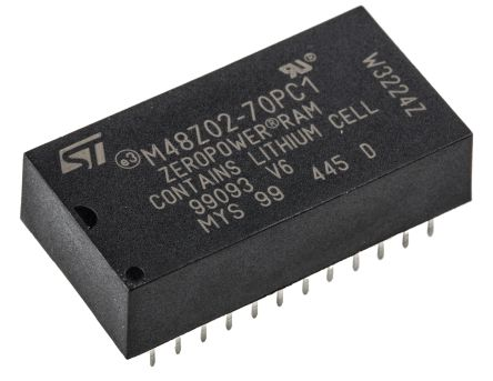 STMicroelectronics M48Z02-70PC1 NVRAM, 16kbit, 70ns, 5V 24-Pin PCDIP