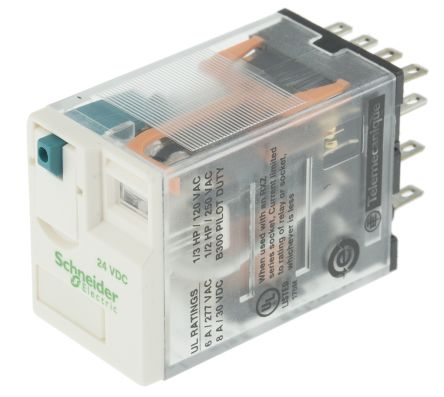 Rxm4ab1bd Schneider Electric 24v Dc Coil Non Latching Relay 4pdt 6a Switching Current Pcb Mount Rs Components