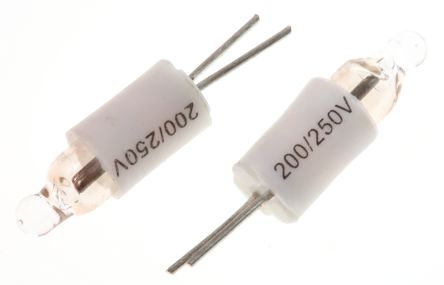 4.75 mm Clear Neon Indicator Lamp, Lead Pins, 200 → 250 V 600 μA