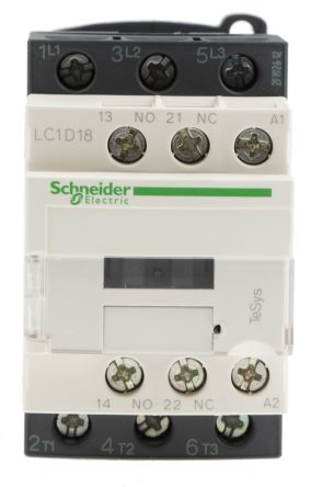 Schneider Electric 3 Pole Contactor, 18 A, 230 V ac Coil, TeSys D, on