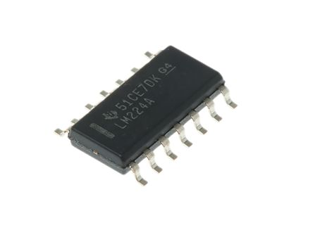 LM224AD Texas Instruments, Precision, Op Amp, 1.2MHz, 5 → 28 V, 14-Pin SOIC