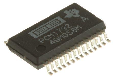 PCM1792ADB, Audio Converter DAC Dual 24 bit-, 192ksps 6%FSR Serial (I2C/SPI), 28-Pin SSOP