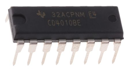 Texas Instruments CD4010BE, Hex Buffer, Converter, Non-Inverting, 3 → 18 V, 16-Pin PDIP
