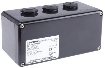 Scame ATEX Junction Box, IP66, 160mm x 75mm x 75mm